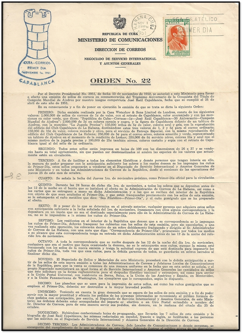 cuba 1951 document philatélique