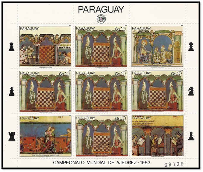 paraguay 1982 fuillet 5 timbres n°237